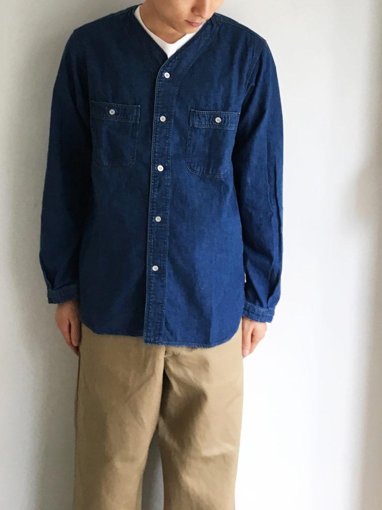 orSlow _ ノーカラーシャツ / Denim