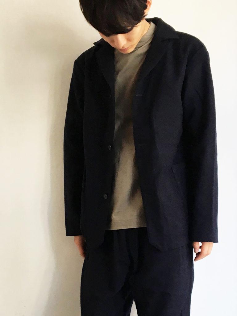 LOLO _ 綿ウール アンコン シャツジャケット / Navy