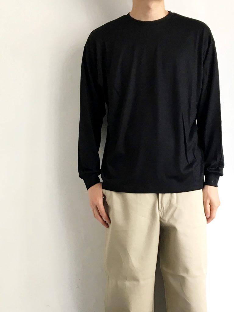un/unbient_ 72/2 ウォッシャブルウールロングTシャツ / Black