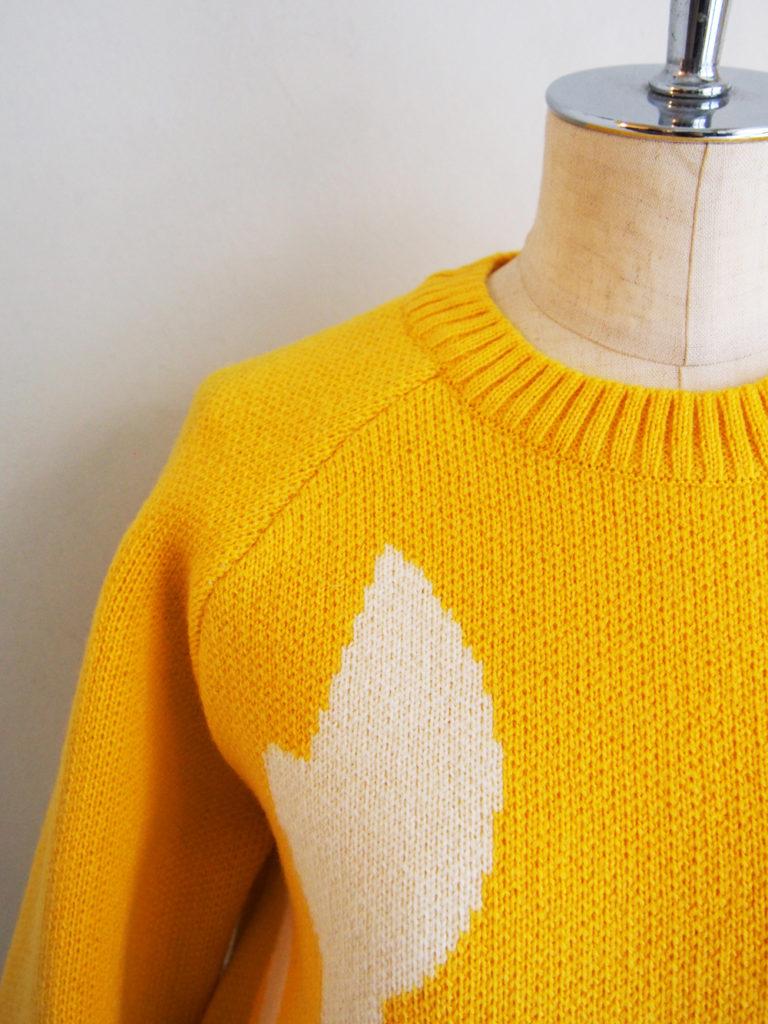 LOLO _ 英国羊毛×メリノウール ジャガード柄セーター / Lemon