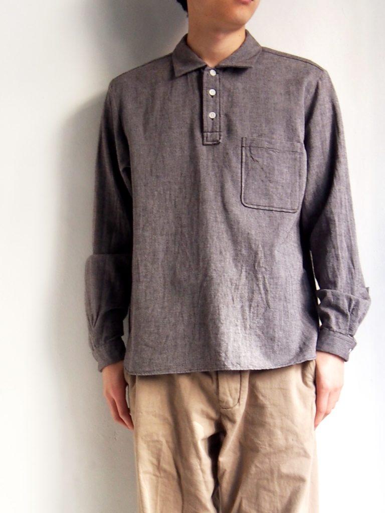 YAECA _ ボタンシャツ プルオーバー  / BROWN
