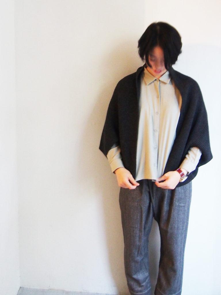 evam eva (WOMEN) _ rib short ボレロ / Charcoal