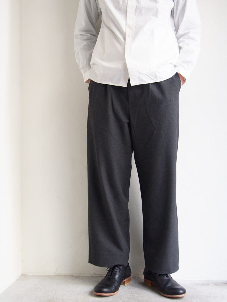YAECA _ 2way パンツ タックストレート  / Charcoal Gray