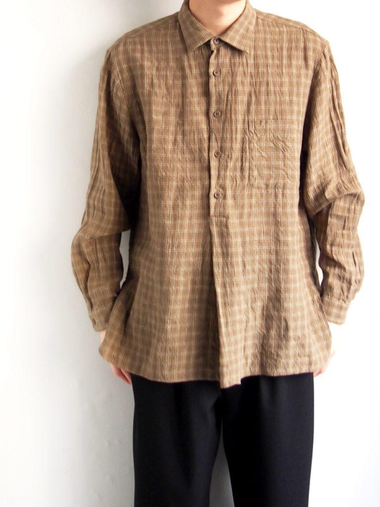 YAECA WRITE _ ボタンシャツ PO ロング / BROWN CHECK