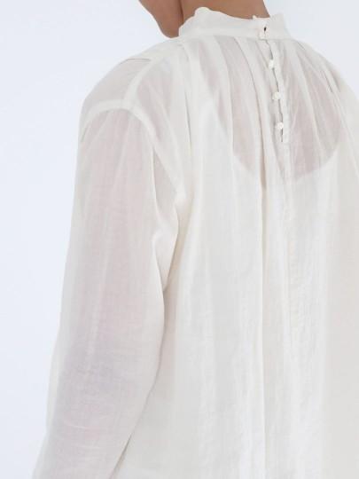 evam eva (WOMEN) _  スタンドカラータックシャツ / Antique White