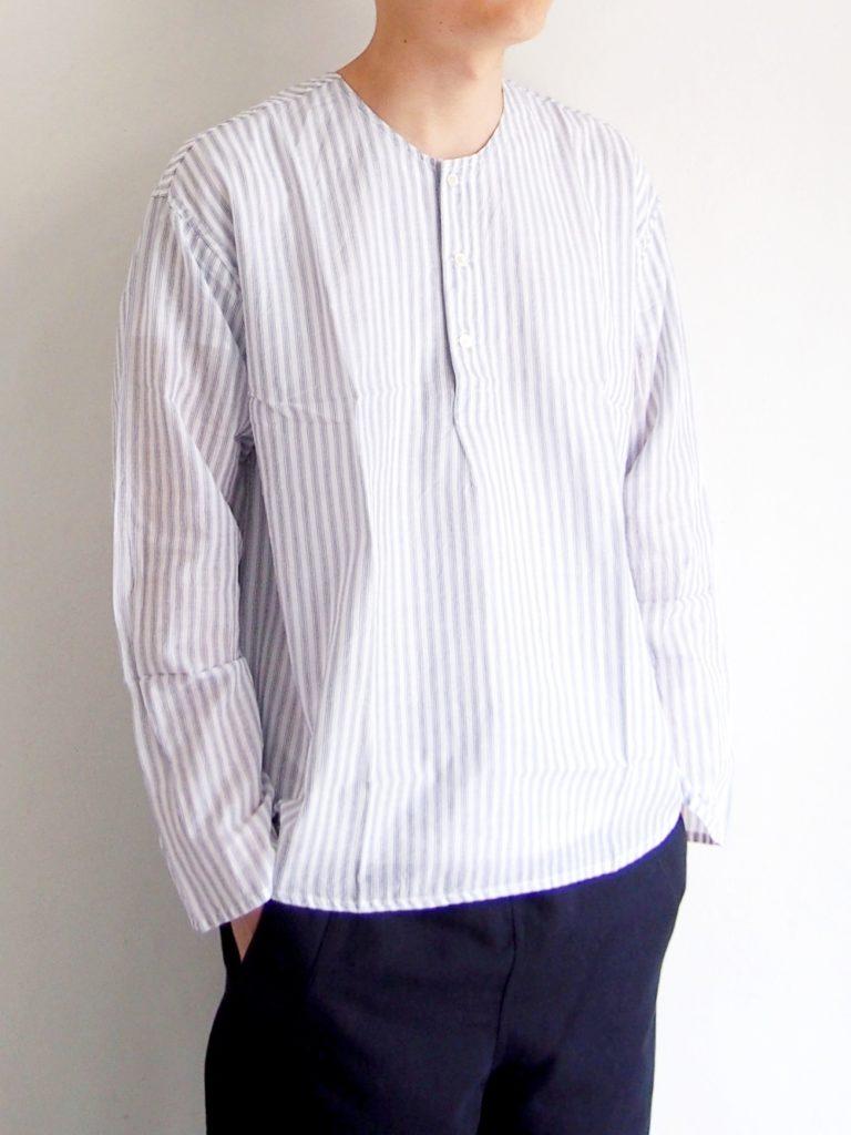ordinary fits _ ノーカラーリラックスシャツ リネン / White