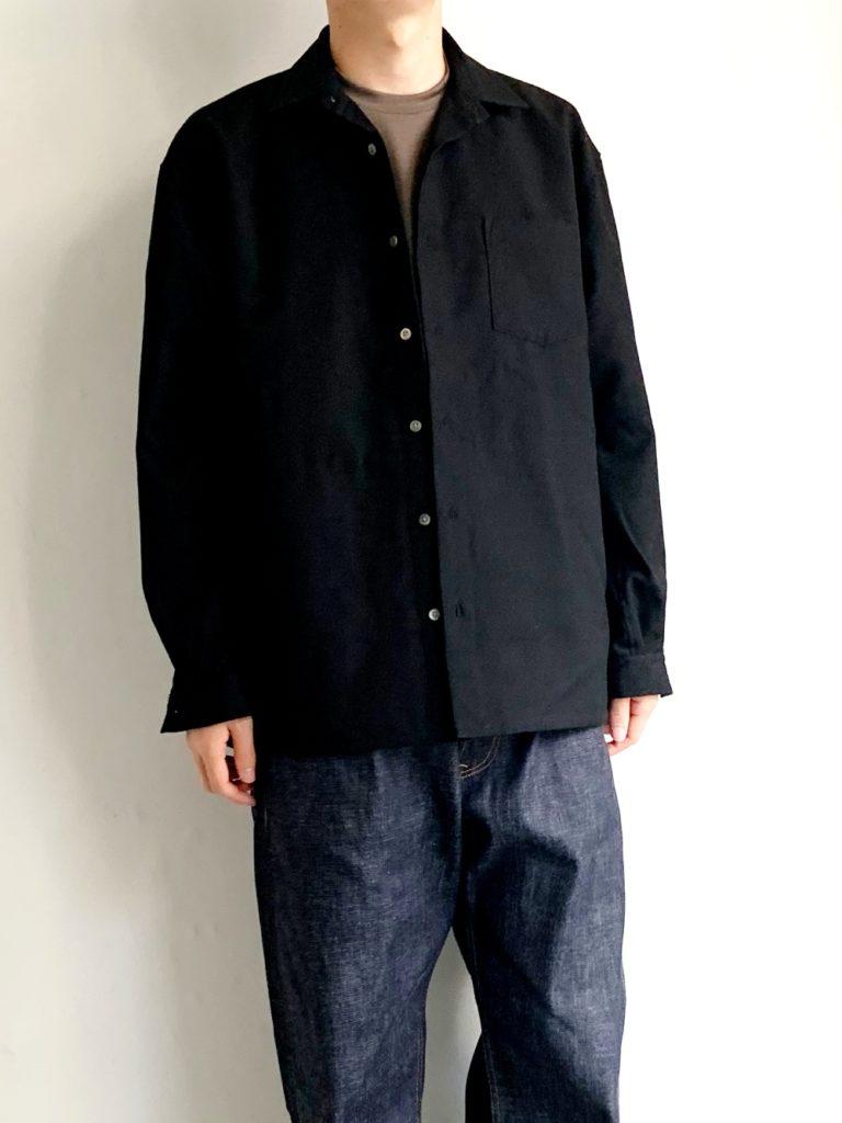 roundabout _ ウール ビッグシャツ / BLACK
