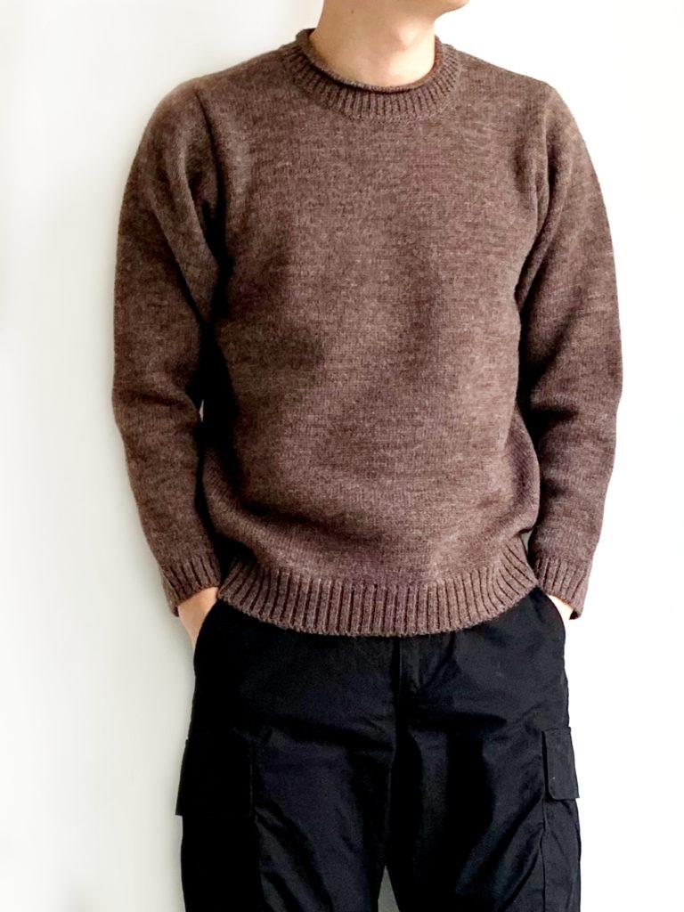 RINEN _ 2/21ウール天竺編みクルーネック / Light Brown
