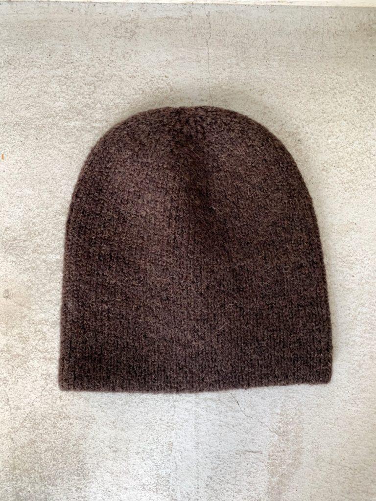 RINEN(UNISEX)_ 2/21ウール アゼ編みニット帽 / Brown