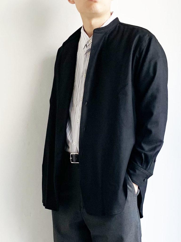 un/unbient _ ウールフランネル スタンドカラーシャツ / Black