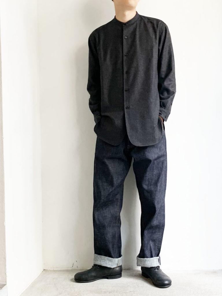 un/unbient _ ウールフランネル スタンドカラーシャツ / Charcoal Gray
