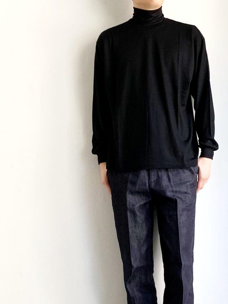 un/unbient_ 72/2 ウォッシャブルウール天竺 ハイネック / BLACK