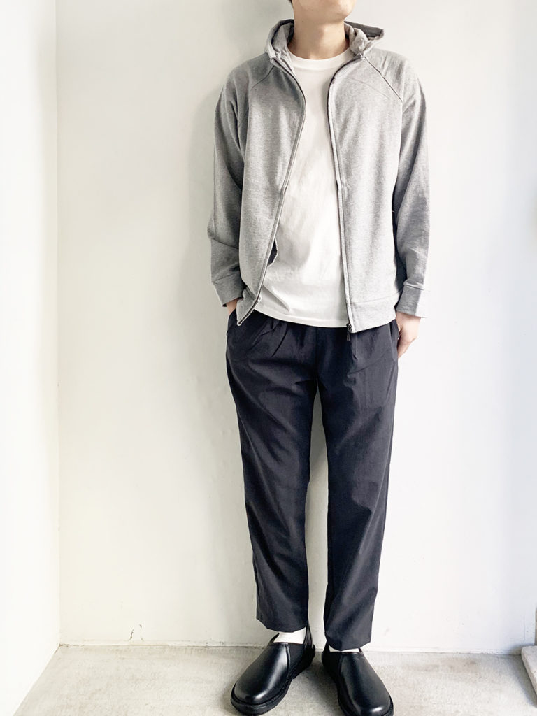 RINEN _ 20/1オーガニック裏毛 フルジップパーカー / Gray杢