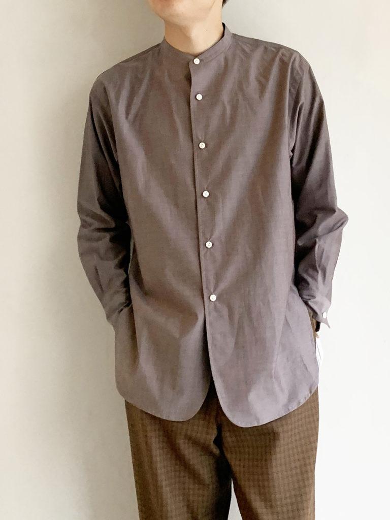 un/unbient _  スタンドカラーシャツ / Brown