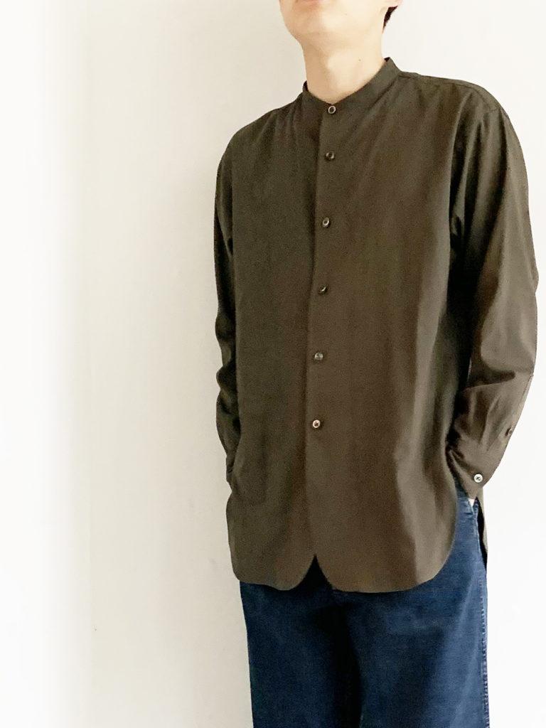 un/unbient _  スタンドカラーシャツ / Dark Olive