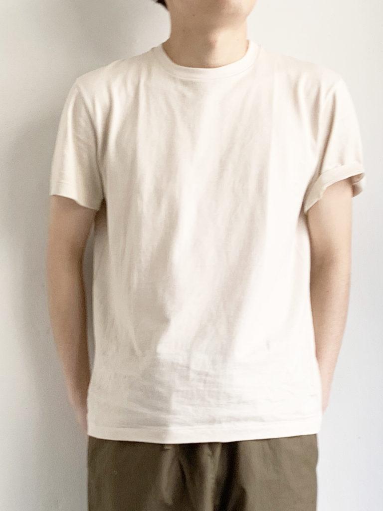 YAECA _ 丸胴シルクタッチTシャツ30010 /  Beige