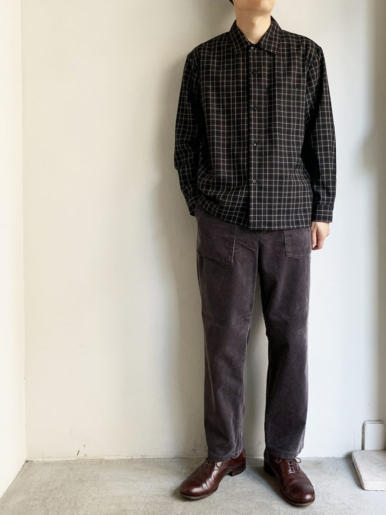 STILL BY HAND _ ウールチェックシャツ / Navy