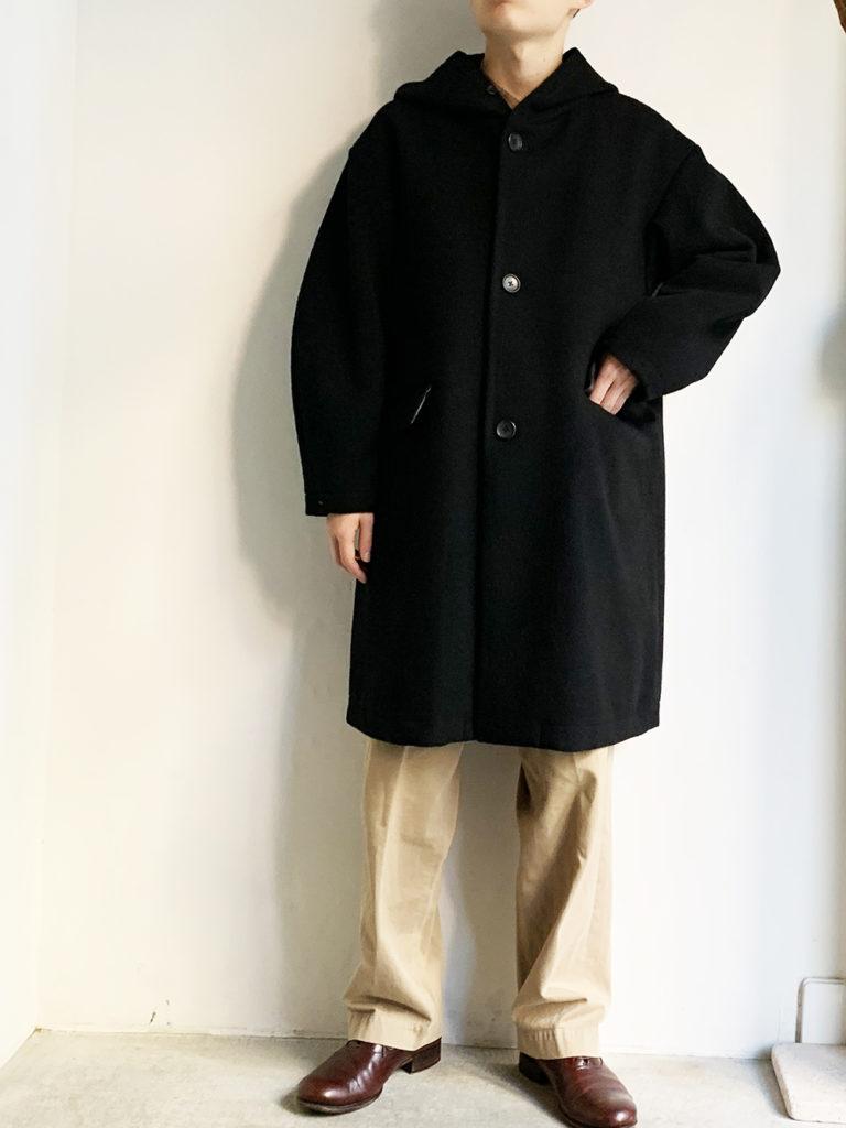 LOLO LIKE _ 英国羊毛フード付きロングコート / BLACK