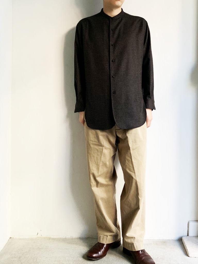 un/unbient _ ウールフランネル スタンドカラーシャツ / Brown smoke