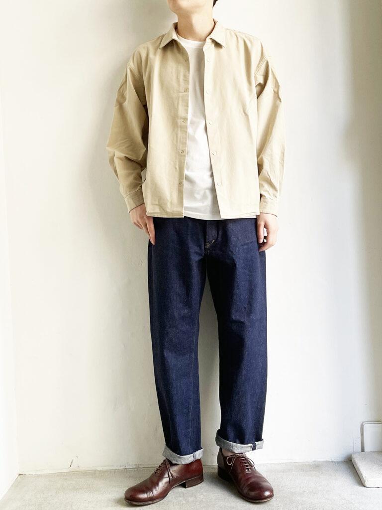 YAECA _ コンフォートシャツ エクストラワイド 11122/ Baige-S