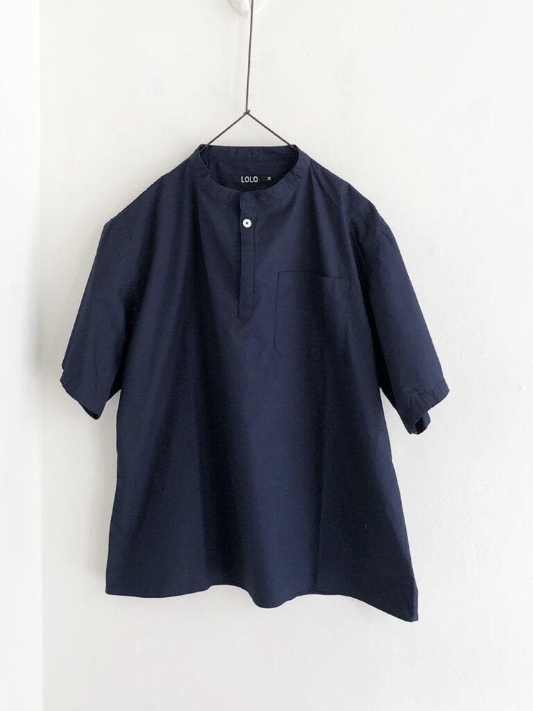LOLO _ 半袖スタンドカラーシャツ / Navy