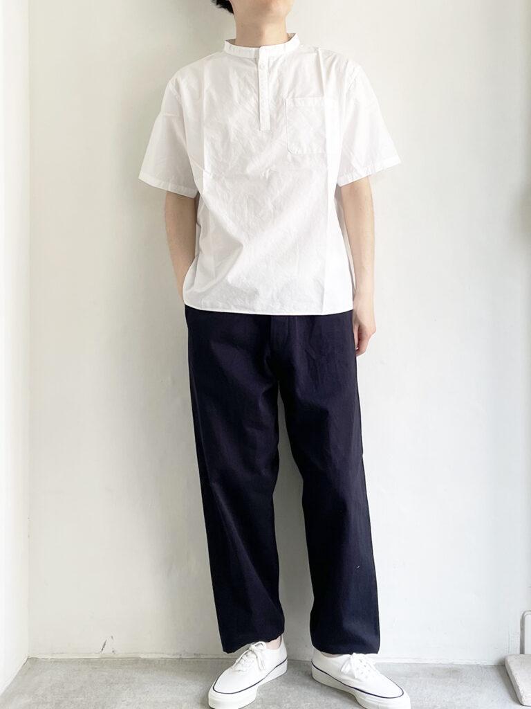LOLO _ 半袖スタンドカラーシャツ / White