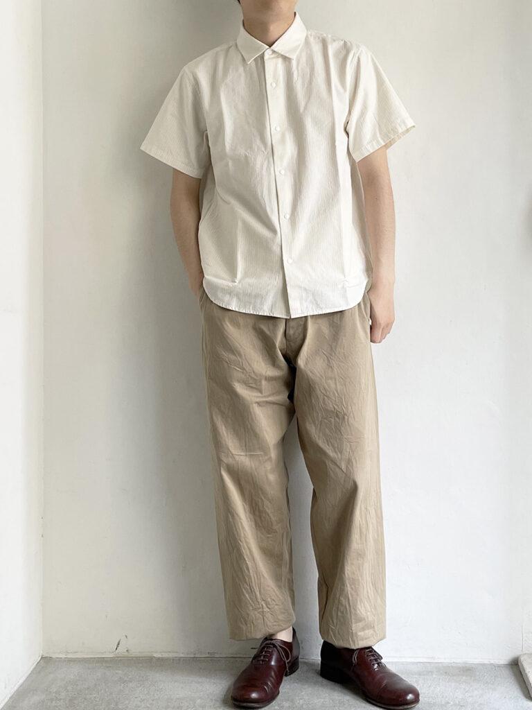 YAECA _ コンフォートシャツ リラックスロングS/S   / Natural-st