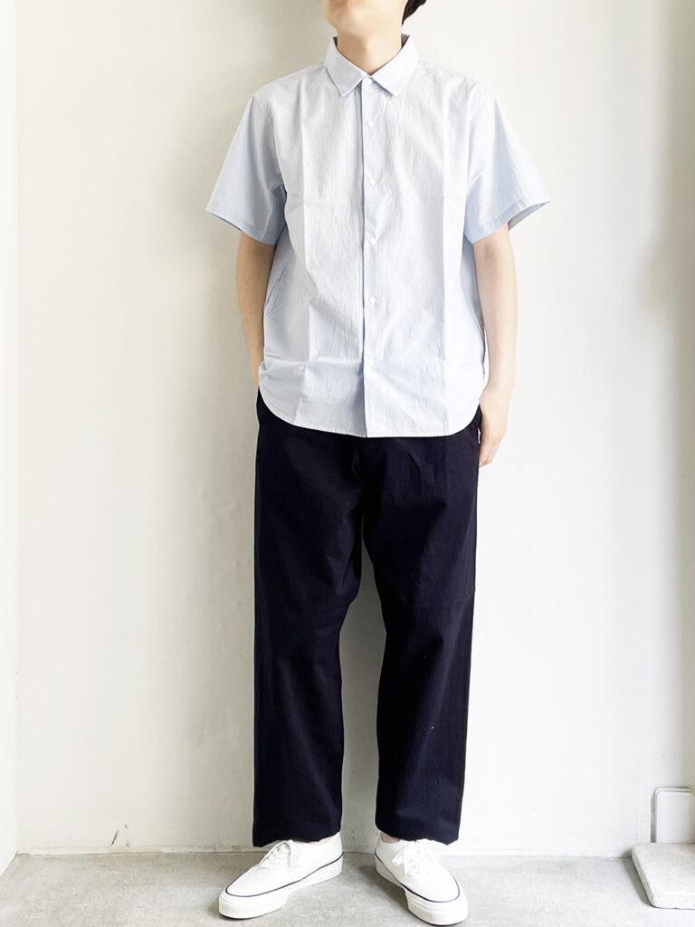 YAECA _ コンフォートシャツ リラックスロングS/S   /  Sax-st