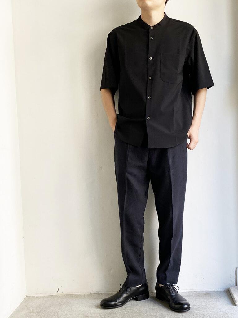 LAMOND _ バンドカラーシャリシャツ /Black