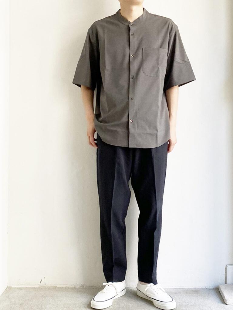 LAMOND _ バンドカラーシャリシャツ /Gray