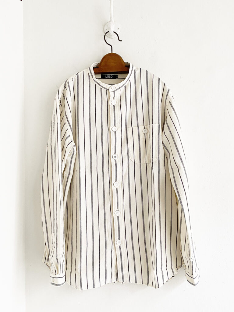 LOLO _ スタンドストライプシャツ / 生成り