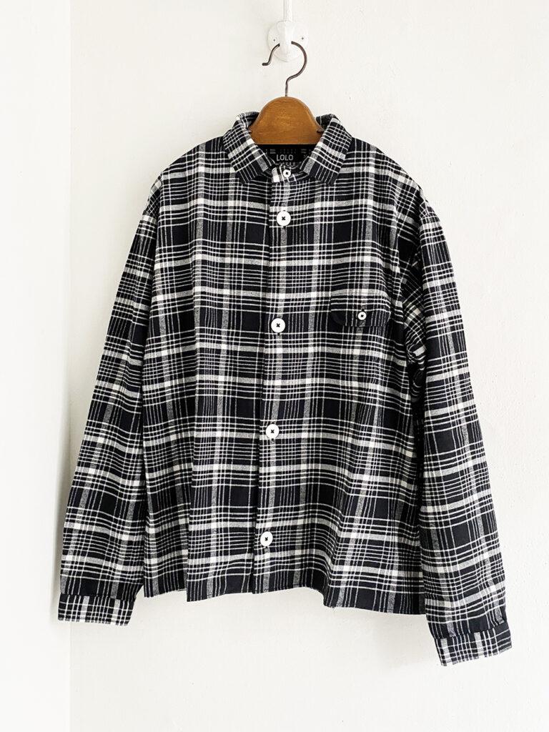LOLO _ ステッチ無しチェックシャツ / Black