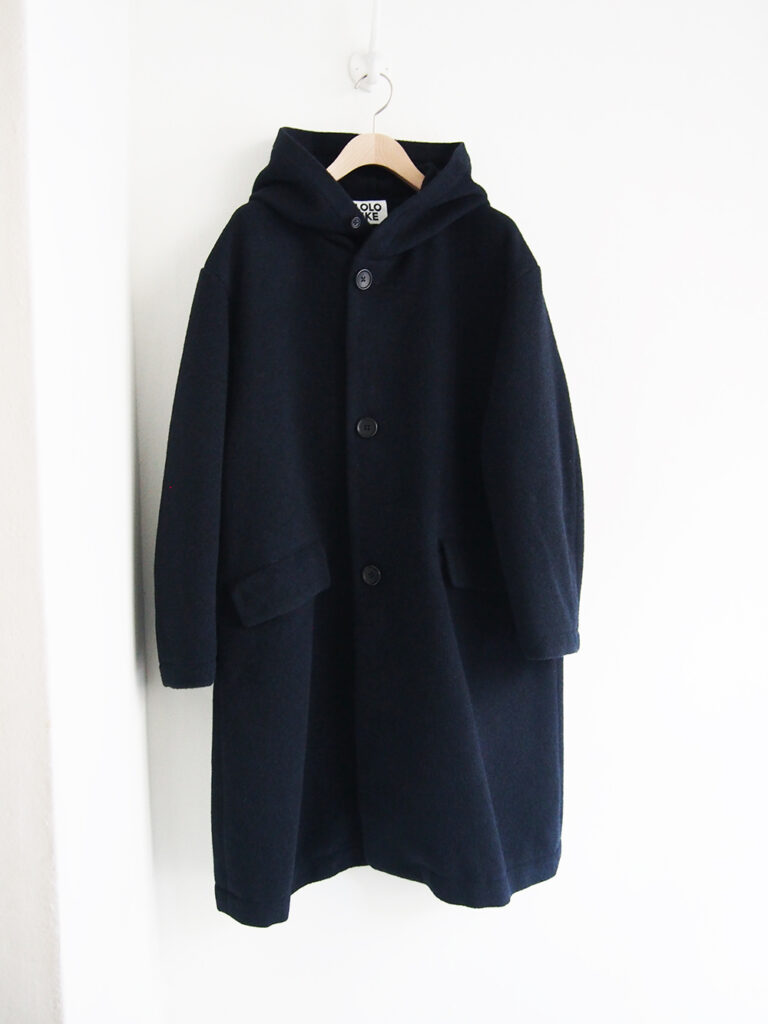 LOLO LIKE _ 英国羊毛フード付きロングコート / Navy